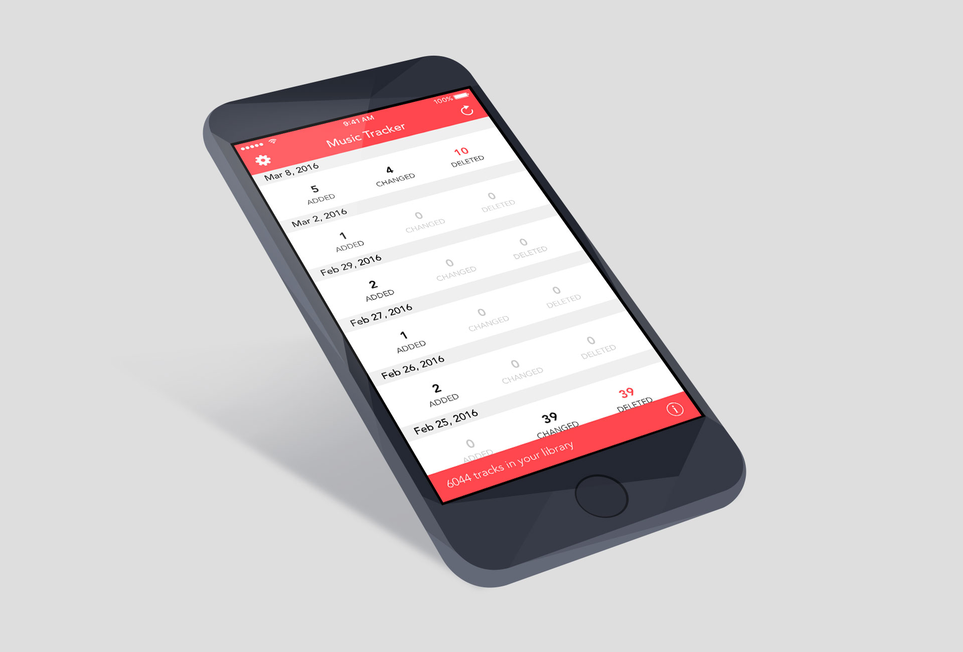 Music Tracker for iPhone, developed by Ben Dodson