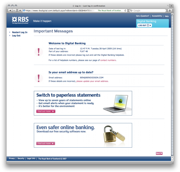 RBS Login: The confirmation page