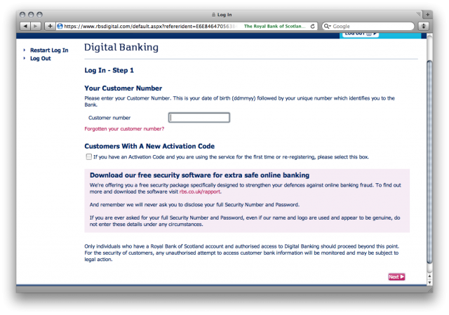 RBS Login: Entering your customer number