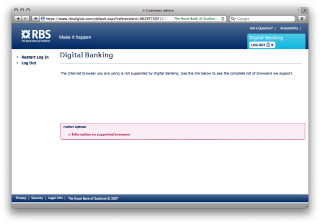 Unsupported browser on RBS Digital Banking