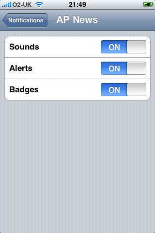 AP News Notification Settings