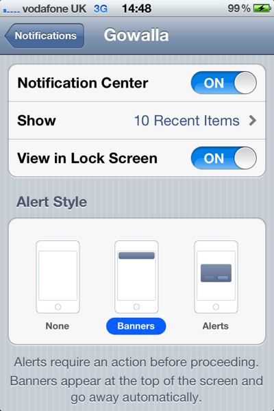 Notification Center Options
