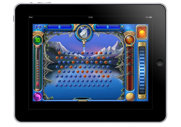 Mockup showing an iPad running Peggle at iPhone 4 Retina Display resolution