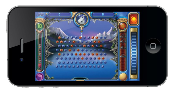 iPhone 4 with Peggle on a Retina Display