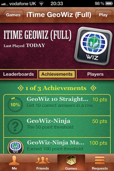 GeoWiz on Game Center