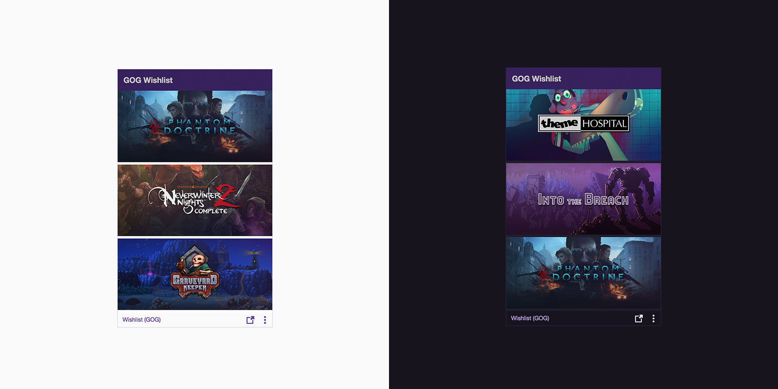 GOG Wishlist panel extension for Twitch by ShyGuysTheDod