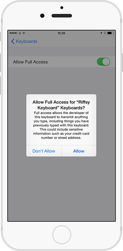 Allow Full Access dialogue on iOS 8
