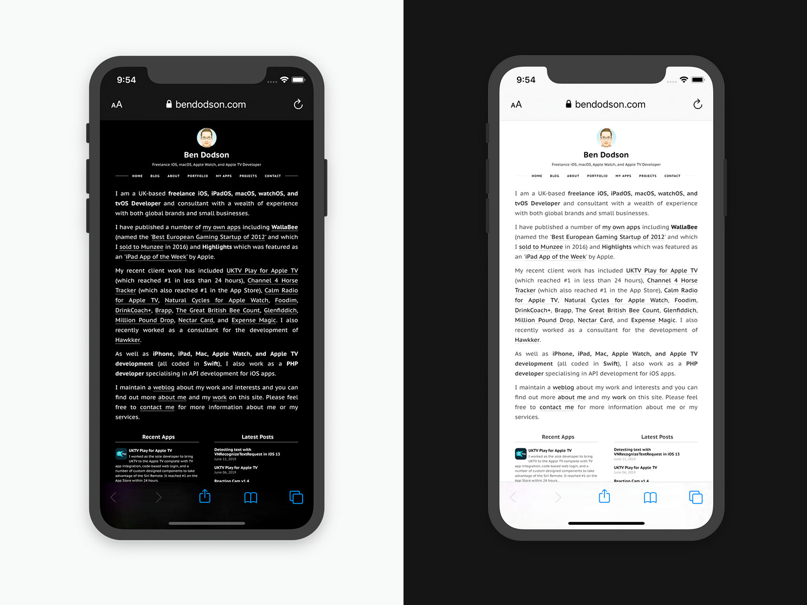 Enabling Dark Mode on a website for iOS 13