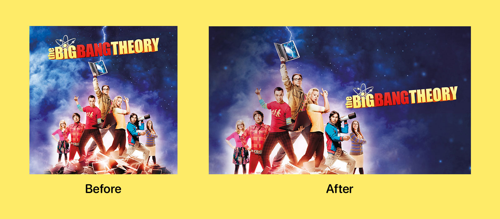 The Big Bang Theory artwork before and after the iOS 12.3 TV update